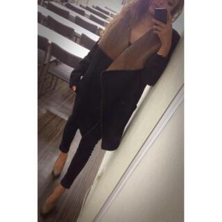 ザラ(ZARA)のさのまい着用 shesdaily  配色大きめカラーニットコート(ロングコート)