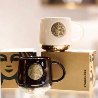 Starbucks Coffee - 【即購入大歓迎】スターバックス マーメイド ブロンズセラミック カップ 黒・白