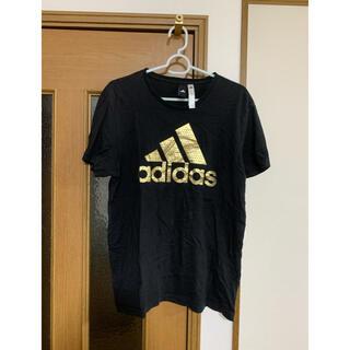 adidas - adidas アディダス Tシャツ メンズ L 黒ブラック 綿100% ゴールド