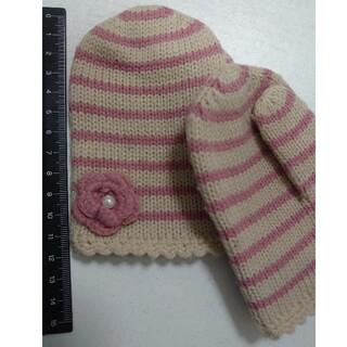 ハッシュアッシュ(HusHush)のミトン 手袋 キッズ 幼児用 女の子 毛糸 ピンク 花(手袋)