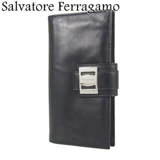 サルヴァトーレフェラガモ(Salvatore Ferragamo)のサルヴァトーレ フェラガモ ロゴ レザー 二つ折り 長財布 イタリア製(財布)