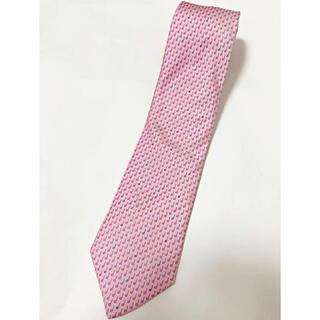 【美品】dunhill ダンヒル 総柄ネクタイ ロゴデザイン 音符 ピンク