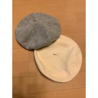 アースミュージックアンドエコロジー(earth music & ecology)のベレー帽 グレー&ホワイト(ハンチング/ベレー帽)