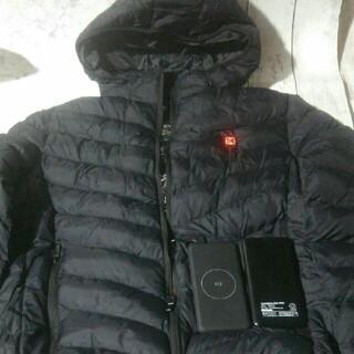 電熱ダウンジャケット、モバイルバッテリー2つセット(ダウンジャケット)