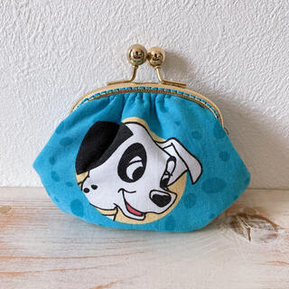 Disney - ビンテージシーツ 101匹わんちゃん がま口ポーチ ハンドメイド