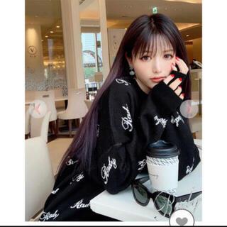 レディー(Rady)のRady♡ロゴニットトップス新品タグ付き!黒×白(ニット/セーター)