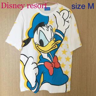 ディズニー(Disney)のドナルド Tシャツ Mサイズ ディズニーランド ディズニーシー 星柄(Tシャツ/カットソー(半袖/袖なし))