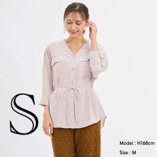 ジーユー(GU)のマットサテンダブルポケットシャツ(7分袖) S ナチュラル(シャツ/ブラウス(長袖/七分))