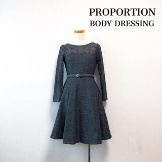 プロポーションボディドレッシング(PROPORTION BODY DRESSING)のPROPORTION BODY DRESSING 膝丈フレアワンピース グレー(ひざ丈ワンピース)
