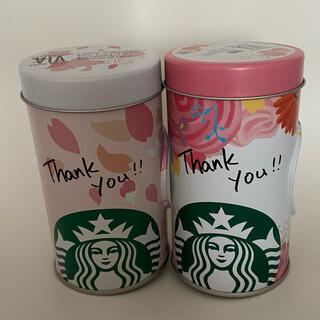 スターバックスコーヒー(Starbucks Coffee)の★スターバックス スタバ★レア!セット ピンク 桜 花 缶(中身空)(小物入れ)