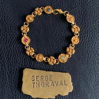 70's仏!4種天然石のゴールド花ブレス