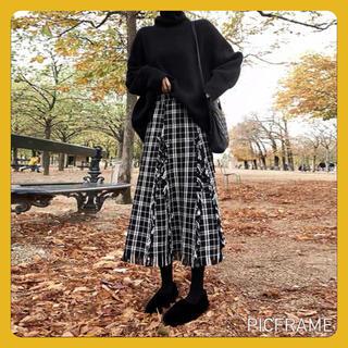 【人気】フリンジ チェック柄 ロングスカート Aライン ツイード 体型カバー(ロングスカート)