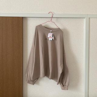 シマムラ(しまむら)のプチハイロゴゆるT・ベージュ・プチプラのあや・LLサイズ・新品未使用(Tシャツ(長袖/七分))