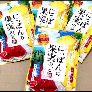 にっぽんの果実のど飴《4袋》(スイカ/パイナップル)ハーブエキス(菓子/デザート)