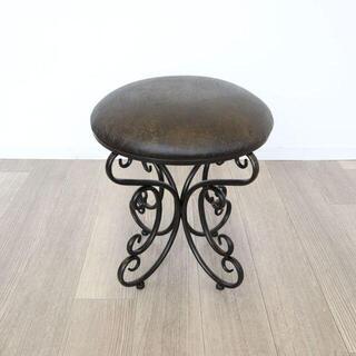 アンティーク調 スツール 椅子<ペイズリー柄> チェア/イス/玄関/化粧台(スツール)