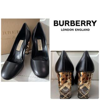 BURBERRY - 未使用 美品 バーバリー ブラックレザー パンプス
