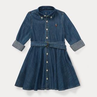 ラルフローレン(Ralph Lauren)の新品 ラルフローレン ベルテッドコットンデニムシャツドレス 140(ワンピース)