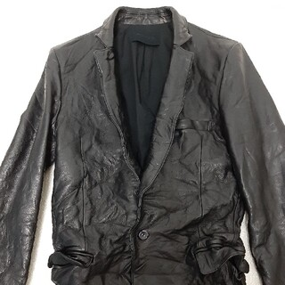 ジュンハシモト(junhashimoto)のジュンハシモト スパイウォッシャブルカウレザー 限定品 サイズ2 ブラック(テーラードジャケット)