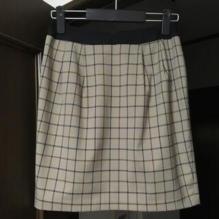 ベージュ チェックタイトスカート(ひざ丈スカート)