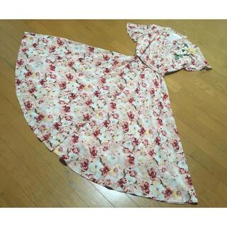 インゲボルグ(INGEBORG)のインゲボルグピンクハウスフレアスリーブピンク花柄ワンピース日本製(ロングワンピース/マキシワンピース)