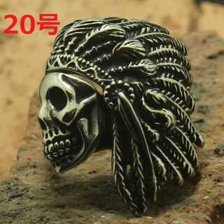 職人の技巧 髑髏 ドクロ スカル × ウォーボンネット シルバー 指輪 20号(リング(指輪))