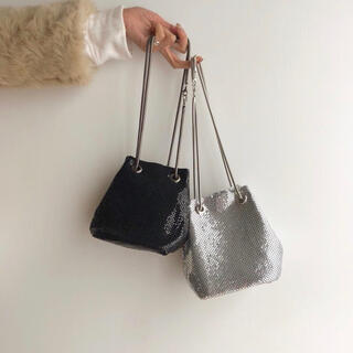 TODAYFUL - 1点のみ即納!Chenille glitter bag (silver)