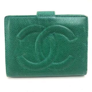 CHANEL - シャネル 二つ折り財布(小銭入れあり) CCココマーク キャビアスキン グリーン