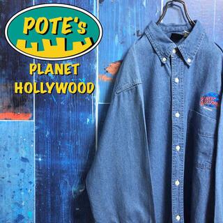 【プラネットハリウッド】ワンポイント刺繍ロゴビッグデニムシャツ 90s