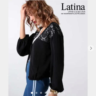 アナップ(ANAP)の【新品】ANAP Latina 花柄フラワーレース×ボリュームスリーブブルゾン黒(ブルゾン)