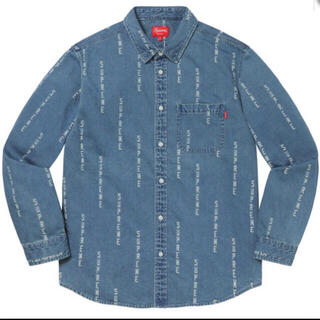 Supreme - Logo Stripe Jacquard Denim Shirt 青 L