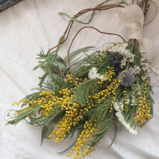 ミモザと瑠璃玉アザミの蔓見せ リース スワッグ 39cm ドライフラワー(リース)