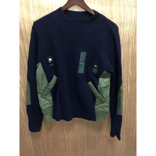サカイ(sacai)のsacai Nylon Twill x Knit Pullover ネイビー(ニット/セーター)