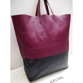celine - ◆CELINE セリーヌ ホリゾンタル カバ レザー トート バッグ 黒x赤紫◆