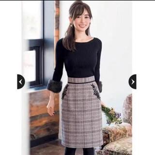 アプワイザーリッシェ(Apuweiser-riche)の刺繍チェックスカート  チェックスカート  タイトスカート (ひざ丈スカート)