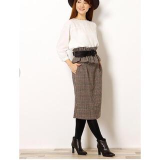 フリルベルト付きチェックタイトスカート(ひざ丈スカート)