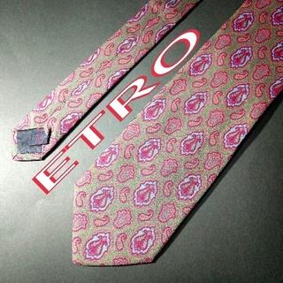 エトロ(ETRO)の【極美品】ETRO  ペイズリー ネクタイ イタリア製 カーキ(ネクタイ)