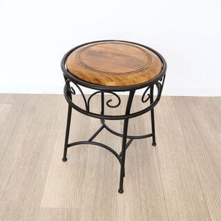 アイアン&ウッドラウンドスツール 椅子 チェアー(スツール)
