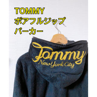 TOMMY - TOMMY トミー ジップアップパーカー  ボア生地 ビッグロゴ