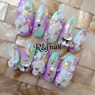 和風♡緑紫ふんわりグラデ♡3Dお花ネイル