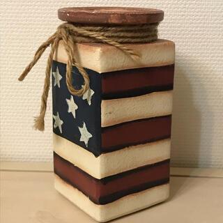 星条旗 花瓶 小物入れ 陶器 カントリー雑貨 アメリカ アンティーク ビンテージ(花瓶)