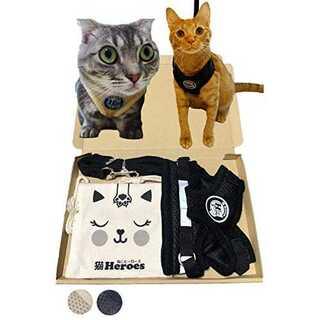 ゴーブラック(黒)M猫Heroes ハーネス リード セット 子猫 はーねす 可(猫)