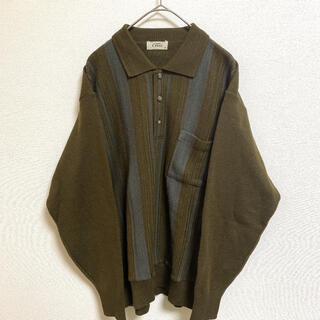 メンズ レディース 総柄 レトロ クラシック ニットシャツ 一点物 レア(ニット/セーター)