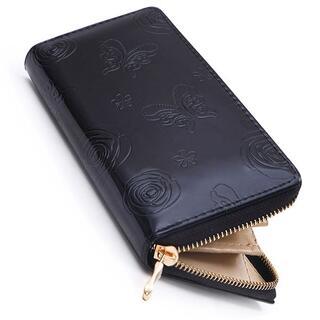 バタフライ&ローズ型押しPUレザーエナメル調長財布 ブラックレディース 15
