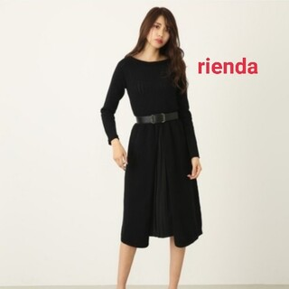 rienda - 新品☆rienda黒/プリーツコンビニットワンピース