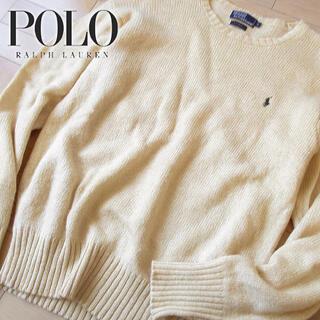 ポロラルフローレン(POLO RALPH LAUREN)のウール100 美品 M ポロバイラルフローレン メンズ ニット ベージュ(ニット/セーター)