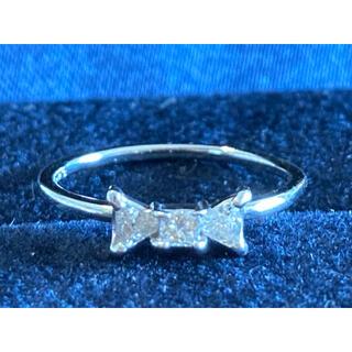 アーカー(AHKAH)のAvaron リボンリング 5号 k18 ホワイトゴールド ダイヤモンド(リング(指輪))