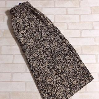 グリモワール(Grimoire)の黒ベージュ ボタニカル 総柄 ガウチョ ワイドパンツ スカート風 レトロ 古着(カジュアルパンツ)