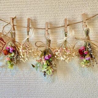 お花たっぷりドライフラワー スワッグ ガーランド❁82 ピンク白グリーン花束♪(ドライフラワー)