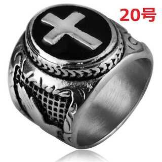 最高級 シルバー クロス 十字架 ジーザス リング 指輪 20号(リング(指輪))