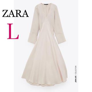 ZARA - ZARA ボリュームスリーブ付きミディ丈ワンピース 新品 ザラ